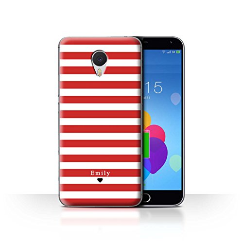 Stuff4 Phone Case/Cover/Skin/mzum3 N/Custom Stripes/Striped Collection Coeur Rayé Rouge