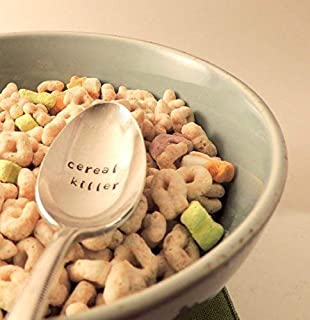 Cereal Killer Hand Stamped Spoon Cereal Spoon Food Pun Fun Gift (lowercase font)