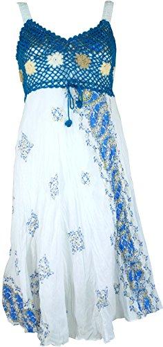 Guru-Shop Boho Minikleid, Sommerkleid, Krinkelkleid, Damen, Weiß/Petrol, Synthetisch, Size:38, Kurze Kleider Alternative Bekleidung