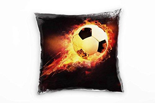 Paul Sinus Art Abstract, voetbal in vlam, vuur, oranje, rood decoratief kussen 40 x 40 cm voor bank sofa lounge sierkussen - decoratie om je goed te voelen