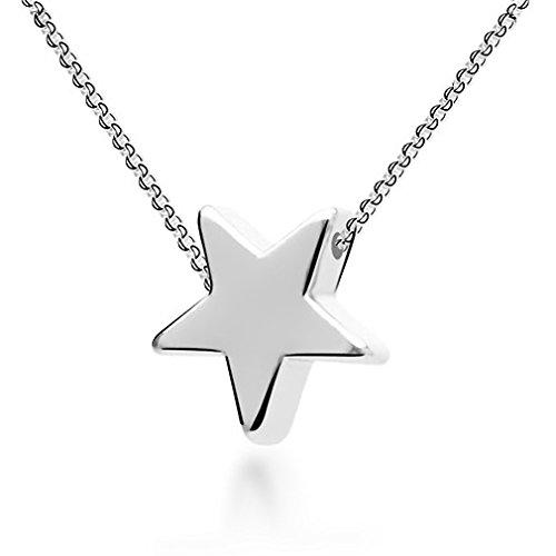 Colgante con forma de estrella, plata de ley 925, cadena de 45 cm