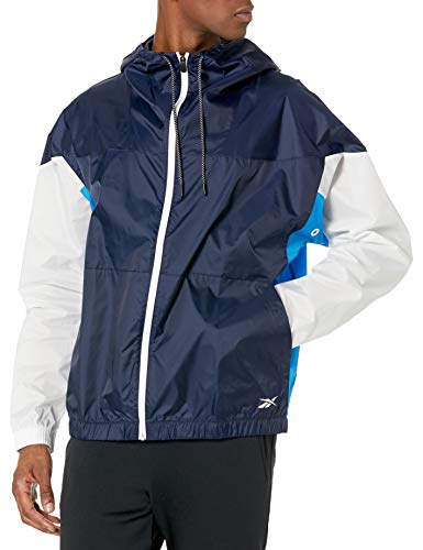 Reebok Workout Ready Meet You There Full Zip Jacket, Vector Navy/Horizon Blue/White, S