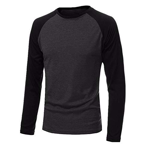 Los hombres de manga larga cuello redondo camisetas casual de béisbol camiseta de los hombres raglán camiseta de la calle plus tamaño 4XL