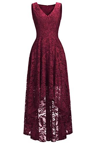Babyonlinedress® Spitzenkleid V-Ausschnitt Ohne Ärmel Vintage Partykleid Asymmetrisch Ball Festlich Abendkleid Brautjungfern Kleid Weinrot 42