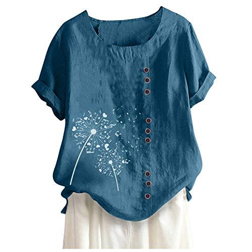 Oversized Damen Oberteile Löwenzahn Motiv Tshirt Leinen Sommer Bluse Tasten Shirts Tops Mädchen Kurzarm Lose Tunika Vintage Tops