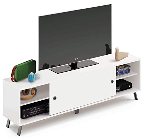 Pitarch Mesa TV Blanca Estilo Moderna 2 Puertas correderas 1 Estante salon Comedor Kamet Mueble 52x160x40 cm