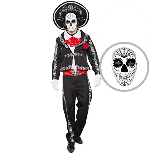 Spooktacular Creations Mens Day of The Dead Mariachi Senor Adult Costume Set Halloween Dress Up Party, Dia de Los Muertos (Large) Black