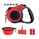 Dunhuang Retractable Dog Leash for X-Small/Small/Medium, 10ft (for Dogs Up to 22lbs), with 1 Free Portable Silicone Dog Bowl + 1 Waste Bag Dispenser + 3 Waste Bag (Red)