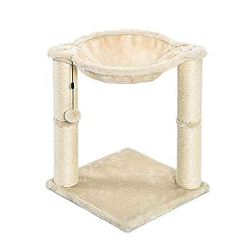 Amazon Basics Arbre à chat en forme de tour avec abri, lit hamac et griffoir - 41 x 51 x 41 cm, Beige