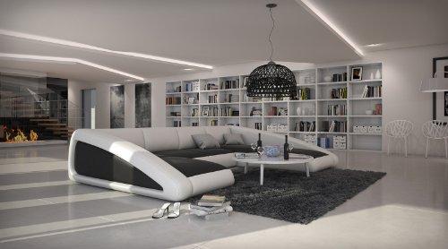 SAM® Sofa Garnitur schwarz/weiß/weiß Ciao rechts 205 x 355 x 250 cm Designed by Ricardo Paolo Wohnlandschaft futuristisch Wohnzimmer Sofa Landschaft Pflegeleichte Oberfläche