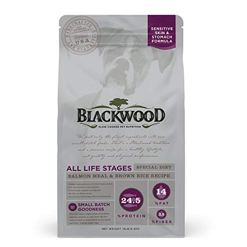 Blackwood Pet Food 22300 All Life Stages, Special Diet, Sensitive Skin, Salmon Meal & Brown Rice Recipe, 15Lb.