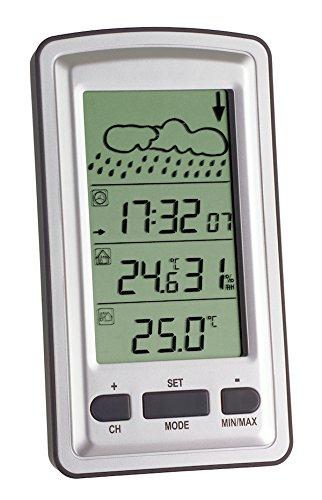 TFA Dostmann Axis Draadloos weerstation, weersvoorspelling met symbolen, weergave van de binnentemperatuur/luchtvochtigheid, buitentemperatuur, radioklok met alarm