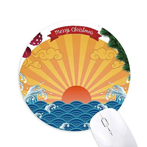 Sun Cloud Sea Wasser Wetter Muster rund Gummi Maus Pad Weihnachtsbaum Mat