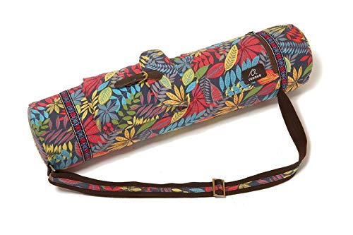 Ducomi Sac pour tapis de yoga, sac de gym avec double poche et poche intérieure, housse fonctionnelle en coton avec bandoulière réglable pour fitness, pilates, idée cadeau pour femme, Prana