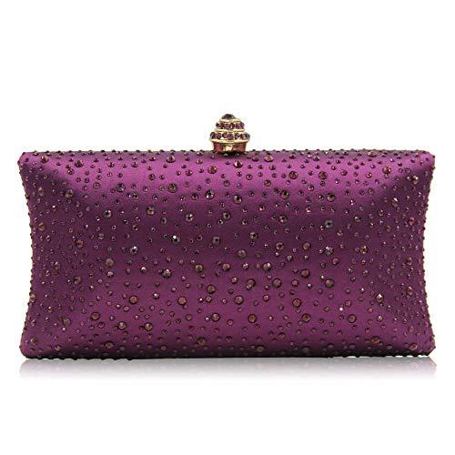 Damen-Clutch-Tasche mit Perlen und Strasssteinen, für Hochzeit, Cocktail, Abschlussball, Party, Violett (violett), Small