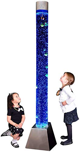 "Playlearn Sensory LED Bubble Tube - 6 Foot""Tank"" with Fake Fish and Translucent Balls, Large Floor Lamp with 8 Changing Lights Colors - Stimulating Home and Office Décor - App and Remote Controlled"