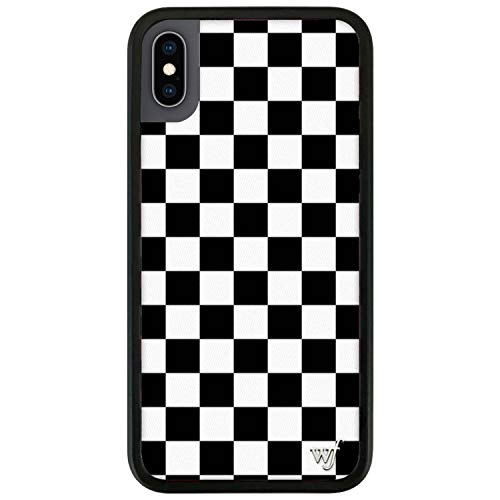 Wildflower Limited Edition Cases Compatible with iPhone X and XS (White & Black Checkered)