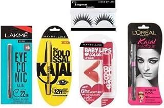 Lily England Black Eyeconic Kajal, Colossal Kajal, Magique Kajal, Eye Lashes, Baby Lips Balm Combo Pack Of 5 Items