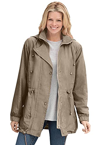 Woman Within Women's Plus Size Fleece-Lined Taslon Anorak Rain Jacket - 3X, Bark Brown