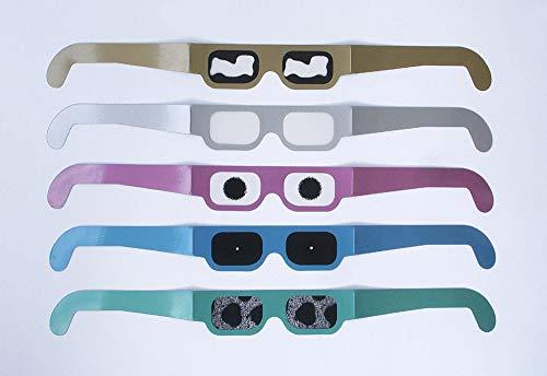 Set SIMULATIONSBRILLEN Augenkrankheiten: je 1x Glaukom (Grüner Star), Katarakt (Grauer Star), Altersbedingte Makuladegeneration, Retinis pigmentosa, Diabetische Retinopathie, 5 verschiedene Brillen aus stabiler Kunststofffolie