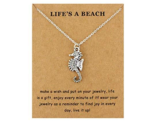 CrownOfRibbons Seepferdchen Halskette Anhänger und Kette Strandschmuck für diesen Sommer