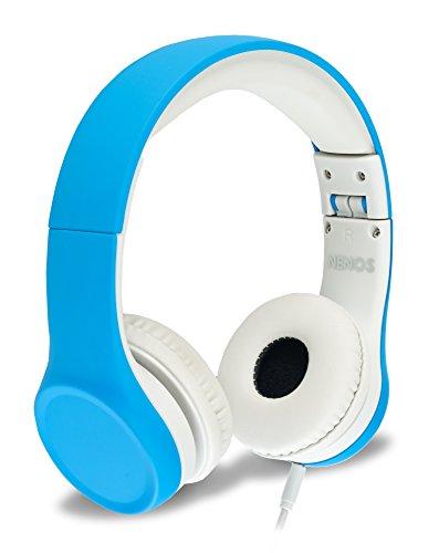 Auriculares para niños con volumen limitado y cable extraíble, para niños y niñas, azul