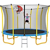 Merax 12FT Trampoline with Basketball Set, Safety Enclosure Net and Ladder, Outdoor Recreational Trampoline for Kids and Family Backyard Fun