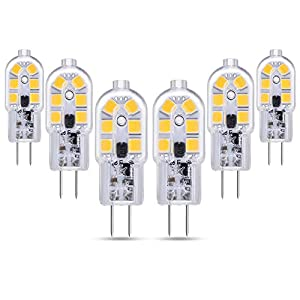 Bombillas LED G4 12V para Autocaravana, 200LM, Blanco Frio 6000K, 2W Equivalente G4 Bi Pin Halógeno de 10W-20W, G4 LED 12V para Campana Estractora de la Cocina/Armario, No Regulable, pack de 6