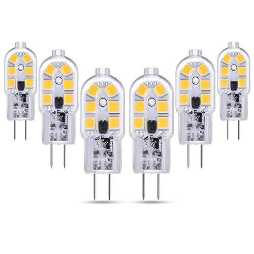 Bombillas LED G4 12V para Autocaravana, 200LM, Luz Calida 3000K, 2W Equivalente G4 Bi Pin Halógeno de 10W-20W, G4 LED 12V para Campana Estractora de la Cocina/Armario, No Regulable, pack de 6