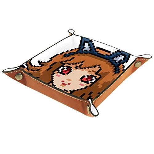 TIKISMILE Bandeja de almacenamiento Pixel Art Anime Girl de piel para pintalabios, organizador de cosméticos, bandeja para el hogar, la oficina, el escritorio, la llave, la placa cuadrada