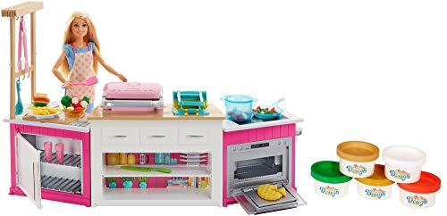 Barbie Métiers Coffret poupée cheffe avec kit cuisine Comprenant Four, Accessoires pour Repas et cinq Pots de pâte à Modeler, Jouet pour Enfant, FRH73