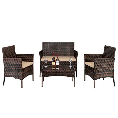 4 Piece Rattan Garden Furniture Set,Patio Conservatory Indoor Outdoor Wicker Weave Furniture Coffee Table, Sofa and 2 Chairs + Seat Cushions (Brown)