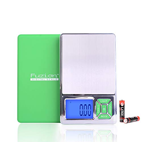 Fuzion Pocket Jewelry Scale, 300g/0.01g Digital Scale Gram, Grain and Ounces, 6 Units Mini Scale with LCD Back-lit Display,Tare Function for Jewelry, Food, Coffee, Battery Included, Green