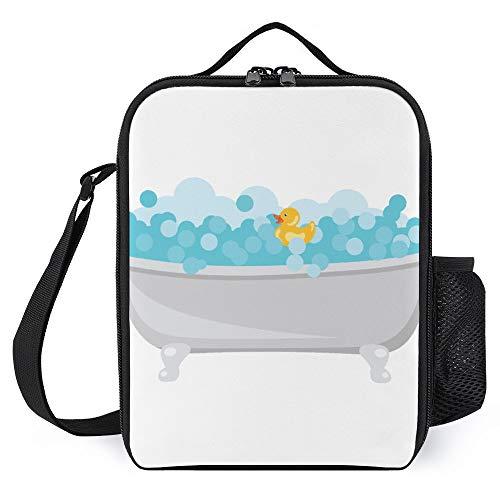 Isolierte Lunchtasche Kühltasche für Damen und Herren, Picknicktasche mit verstellbarem Schultergurt, isolierte Bento-Tasche für Büro/Schule/Picknick, Badewanne mit Gummiente