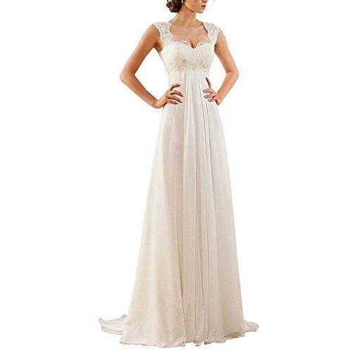 Aiyana Damen A-Linie Chiffon Langes Rueckenfrei Kleid Rueckenfrei Schnuerung Abendkleid Spitze Brautkleid (48, Elfenbein)