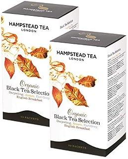 Hampstead Tea London Bio-Schwarztee-Auswahl, 10 x Darjeeling, 10 x Assam, 10 x Earl Grey und 10 x englisches Frühstück - Insgesamt 40 Teebeutel 80 Gramm