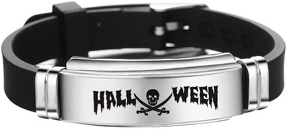 ifundom Halloween Decorations Halloween Skull Bangle Bracelet Stainless Steel Bracelet Personalized Fashion Bangle for Kids Teens (Style 13)