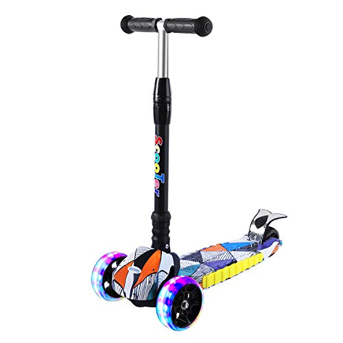SULIVES 3 Wheel Scooter for Kids Ages 2-12 - Height Adjustable, Back Wheel Brake, Extra-Wide Deck with 4 Light-Up Wheels, Best Day Gifts for Boys and Girls Toddler (Black) (Black)