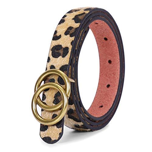 JasGood Gürtel zwei Ringen Gürtel Damen Stilvoll Gürtel Robuster Gürtel mit Eisenschnalle Einfacher Stil Einzigartig gürtel Vintage und Modisch, D-leopard-goldene Schnalle, XS-95cm(24-28 zoll)