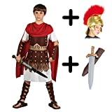 A2ZFD Boys Roman Centurion Gladiator Sparticus Fancy Dress COSTUME + ROMAN HELMET (FABRIC) + SWORD -...