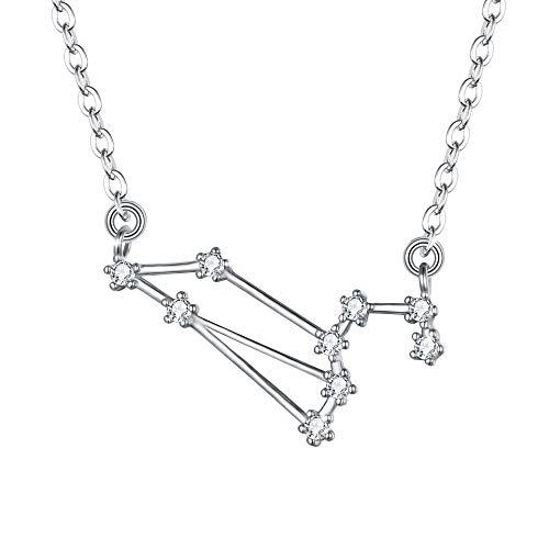 Clearine Halskette Sternzeichen 925 Sterling Silber CZ- Löwe Sternbild 12 Horoskop Astrologie Anhänger Kette klar für Damen Mädschen