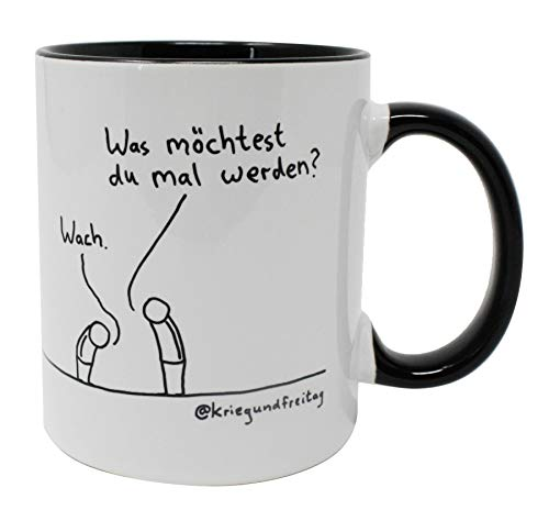 Krieg und Freitag Tasse - Wach Werden   Innen & Henkel schwarz   Premium Kaffeebecher