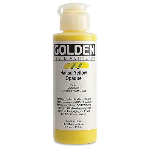 Golden Acrylic: Acrílico Fluido: 119ml. (Botella) Amarillo Hansa Opaco