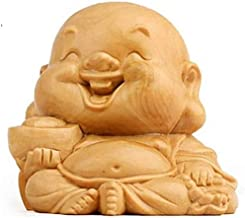 Chinese Feng Shui Statues Yellow Poplar Decor Laughing Buddha Wood Home Car Office Good Luck Attract Wealth Gifts