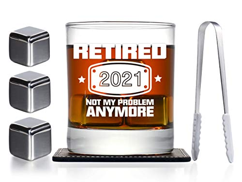 2021 Retirement Gifts for Men, Funny Retired 2021 Not My Problem Any More Whiskey Glass and Stones Gift, Happy Retirement Gifts Decorations for Office Coworkers, Boss, Husband, Dad, Friends
