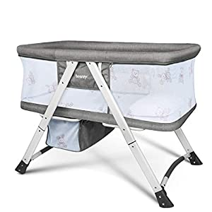 besrey Baby Bassinet, Travel Crib, Portable Bed for Baby, Rocking Cot Foldable with Mattress Storage Bag