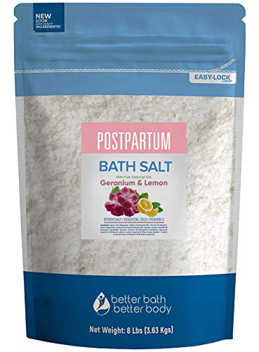 Postpartum Sitz Bath Salt 128 Ounces Epsom Salt with Natural Frankincense, Lavender, Geranium, Chamomile and Lemon Essential Oils Plus Vitamin C in BPA Free Pouch with Easy Press-Lock Seal