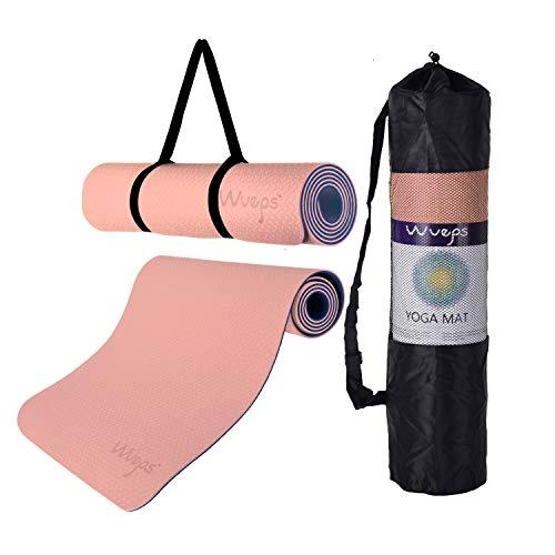 esterilla deporte, esterilla yoga Wueps, incluye correa de hombro y bolsa de transporte, ideal para realizar deporte en casa, yoga mat, esterilla yoga antideslizante, (Color Rosa Goma y Azul Oscuro)