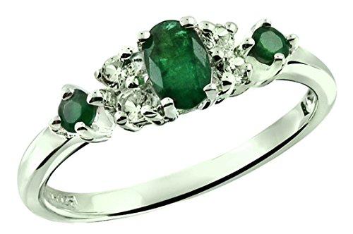 RB Gems Sterling Silver 925 Ring Genuine Gemstone (Emerald, Pink Tourmaline, Ruby) Rhodium-Plated Finish (7, Emerald)