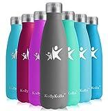 KollyKolla Botella de Agua Acero Inoxidable, Termo Sin BPA Ecológica, Botellas Termica Reutilizable Frascos Térmicos para Niños & Adultos, Deporte, Oficina, Yoga, Ciclismo, (750ml Gris Completo)